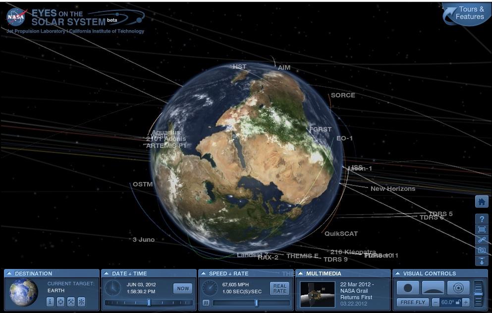 Земля и космические аппараты, окружающие ее в реальном времени
