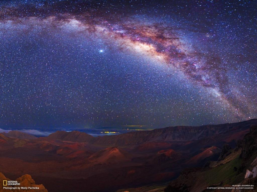 Млечный путь над вулканом Халеакала.