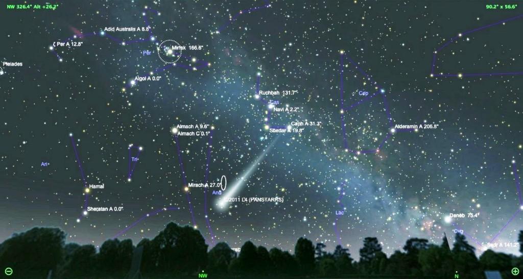 Схема наблюдения Кометы Panstarrs. © | NASA